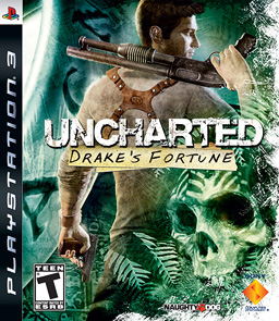 Box art for Uncharted - A white man with several guns, in a jungle.